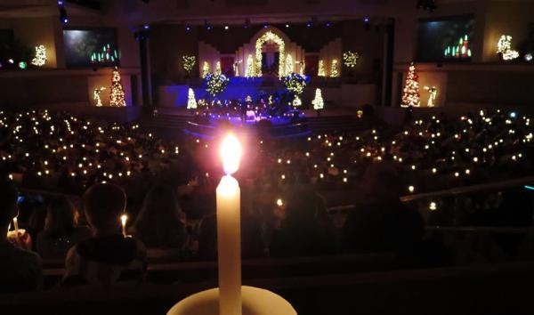 Candle at the Christmas Eve service at First Assembly