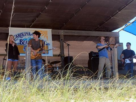 Band on stage at the Carolina Beach Music Fest