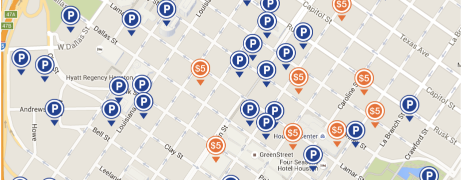 Downtown Houston Parking Interactive Map