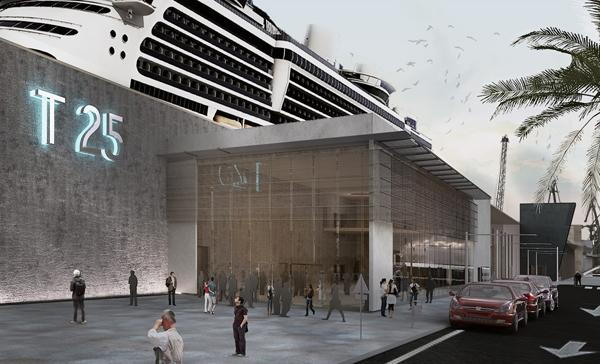 Graphic of what Cruise Terminal 25 will look like after renovations