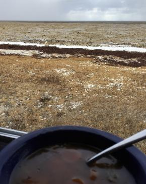 Hot drinks are served on a tundra vehicle in Churchill, Manitoba
