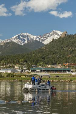 Fishing on a boat in Lake Estes