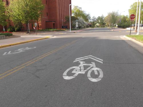 Bike Sign on UWEC Campus