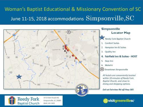 Simpsonville Hotel Map