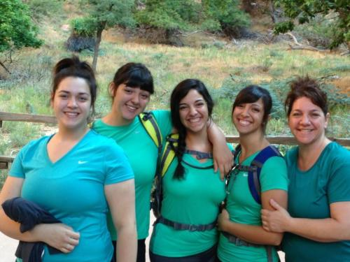 girl hiking team