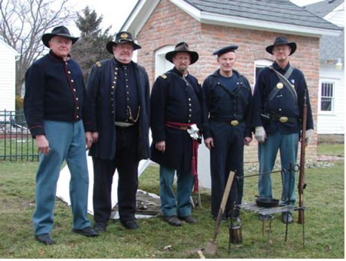 Civil War uniforms - the slouch hats indicate that theses soldiers were from the west, in difference to the eastern soldiers who wore kepis.