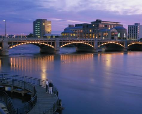 Lighted Bridge over the Grand River in Grand Rapids