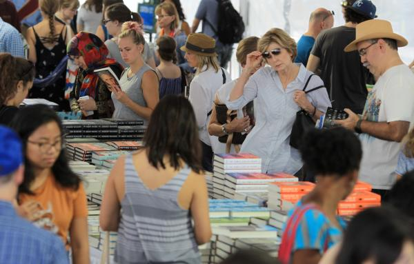 Crowd browsing books at Texas Book Festival