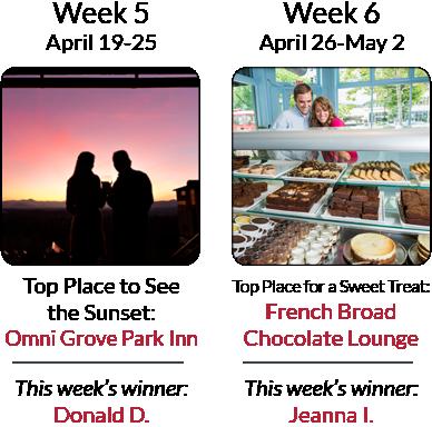 Asheville's Ultimate Top 8 Getaway Giveaway - Weeks 5 & 6