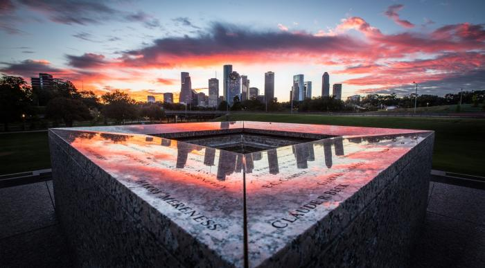 Houston Skyline at Police Memorial