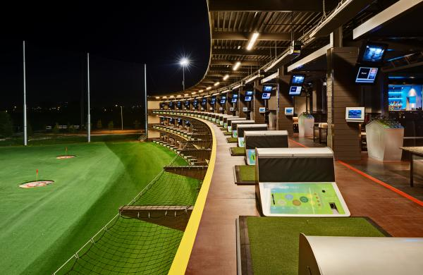 Topgolf Bays at Night