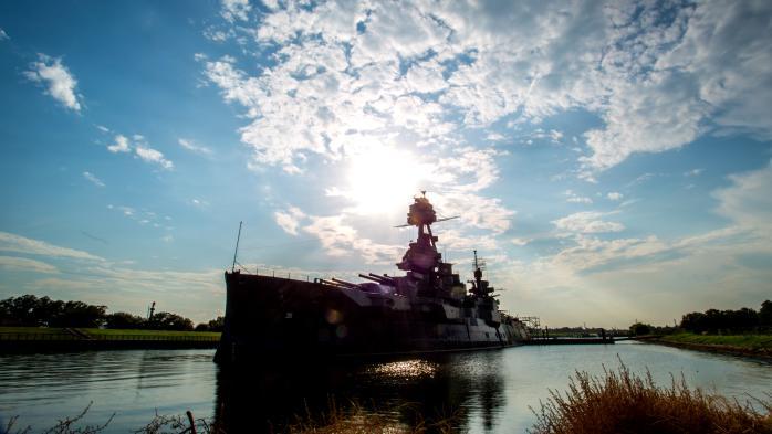 Battleship Texas at Sunset
