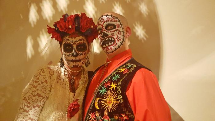 Costumed couple at Day of the Dead Xicago in Chicago