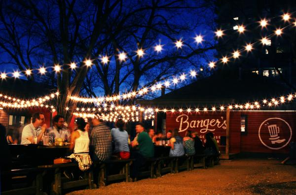 Banger's Sausage House and Beer Garden at night