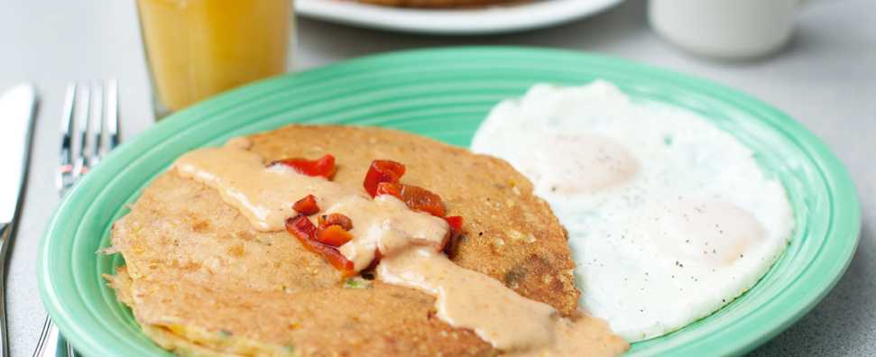 Corn Cakes with sweet red pepper sauce
