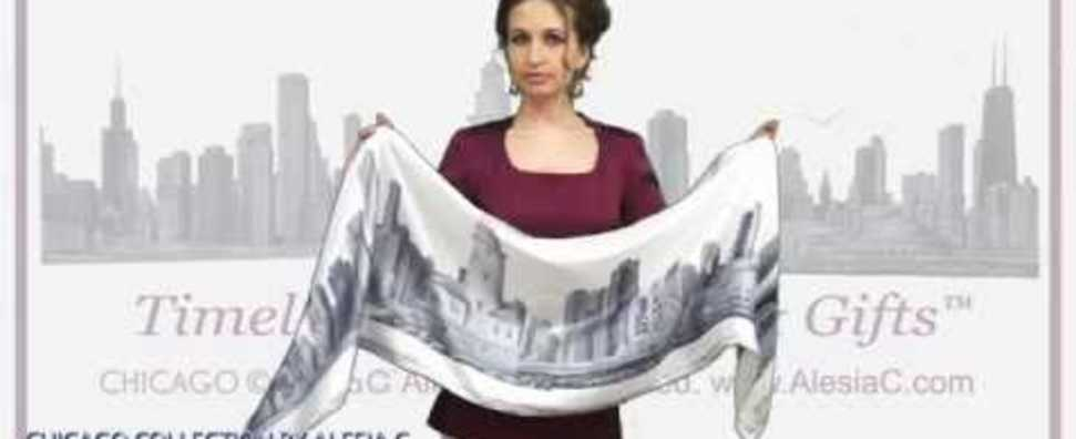 ALESIA C. CHICAGO COLLECTION SILK TWILL SCARF STOLE HOW TO WEAR VINTAGE MAGNET SCARF CHARM RING