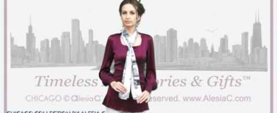 ALESIA C. CHICAGO COLLECTION SILK SCARF STOLE HOW TO WEAR INNER BLOOM SCARF CHARM RING