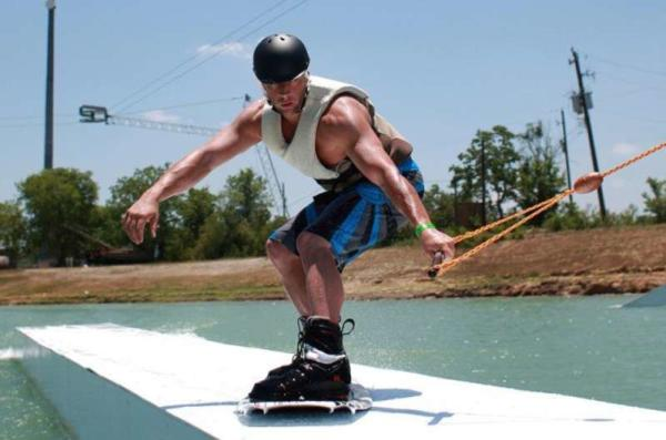 Wakeboarder gets ready to launch at Wake Nation wakeboarding waterpark