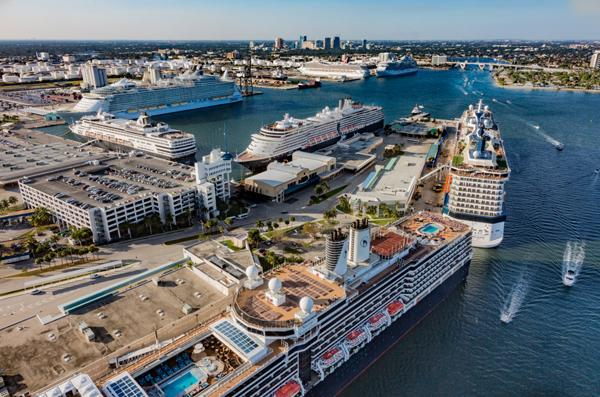 Aerial photo of Midport Cruise Terminals looking north