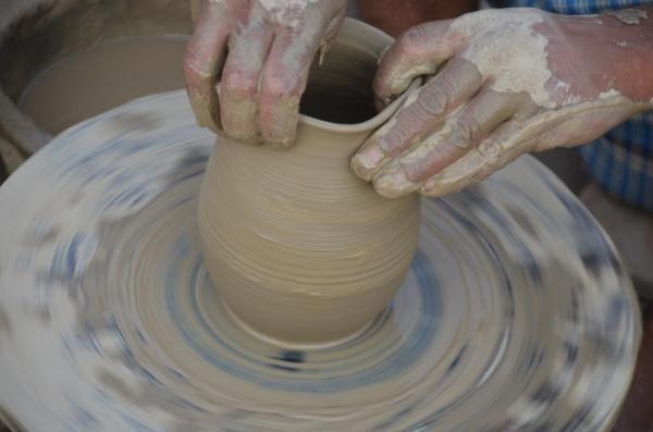 Potters wheel in a ceramic studio.