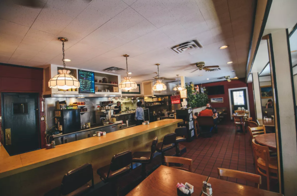 Red River Cafe interior and diner counter