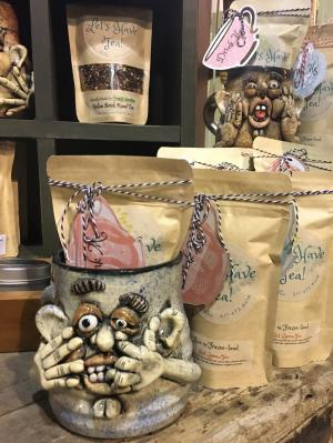 Whimsical mugs at Frazee Gardens for holiday gift guide
