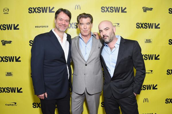 """Executive Producer Kevin Murphy, Actor Pierce Brosnan, and Co-Creator/Executive Producer Philipp Meyer attend the """"The Son"""" premiere at SXSW 2017"""