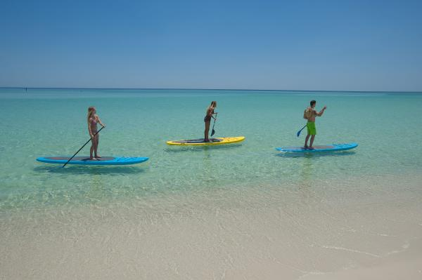 Friends Paddle Boarding