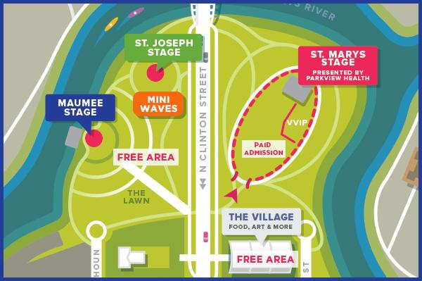 Middle Waves Music Festival 2017 Map - Fort Wayne, IN