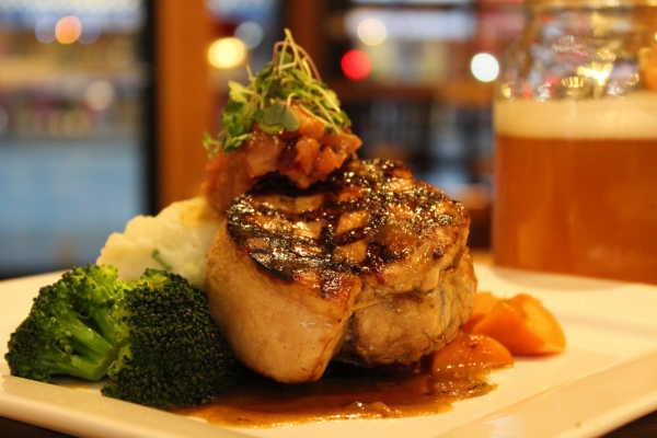 Entree 2_Grilled Pork Chop, Champ Potato, Apple & Raisin Chutney, Rosemary Reduction