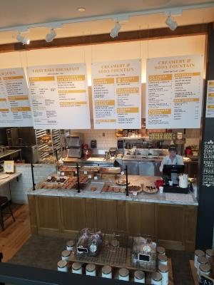 Founding Farmers First Bake Cafe, located on the first floor of the restaurant, features fresh-baked donuts and artisan coffee.