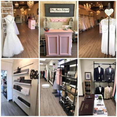 The showroom at Ella Mae's Formal provides a beautiful setting to find that perfect dress or suit.