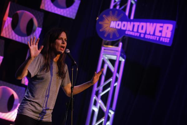 Comedian performs at Moontower Comedy & Oddity Festival 2012