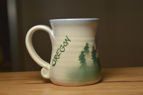Oregon ceramic mug designed and spun by Lindsoe Clayworks