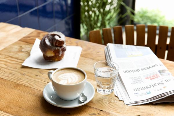 Coffee and a pastry from Manana