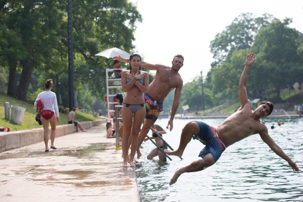 Jumping in to Barton Springs Pool