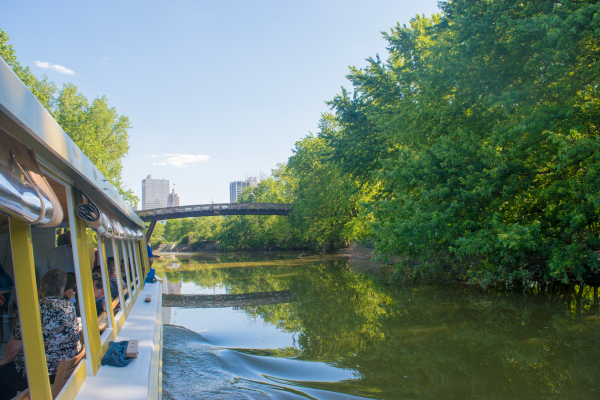 Fort Wayne Skyline as seen from the Sweet Breeze Canal Boat Tour