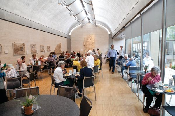 Kimbell Art Museum, Fort Worth, Texas; constructed 1969–72 The Buffet Restaurant's dining area,  with Syrian mosaics and the Maya Stela with a Ruler  Louis I. Kahn (1901–1974), architect Photograph: Robert LaPrelle © 2013 Kimbell Art Museum, Fort Worth