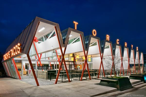 Torchy's Tacos exterior on South Congress at night