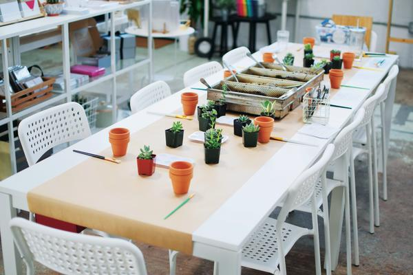 Painted Planter Party at the Paper + Craft Pantry.