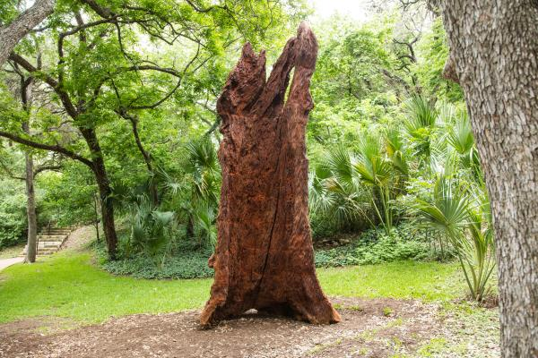 Iron Tree Trunk sculpture by Ai Weiwei at The Contemporary Austin Laguna Gloria