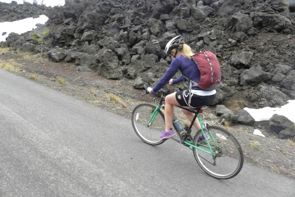 Molly Cycling McKenzie Pass Scenic Bikeway by Molly Blancett