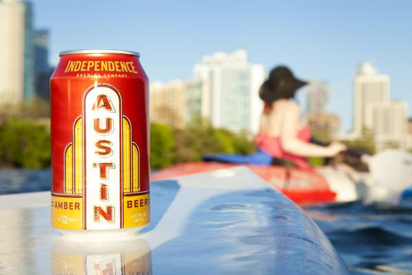 Independence Brewing Austin Amber beer on paddle board