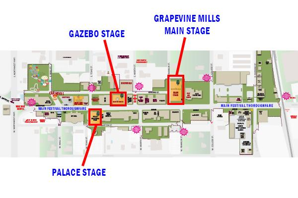GrapeFest Stage Locations Map