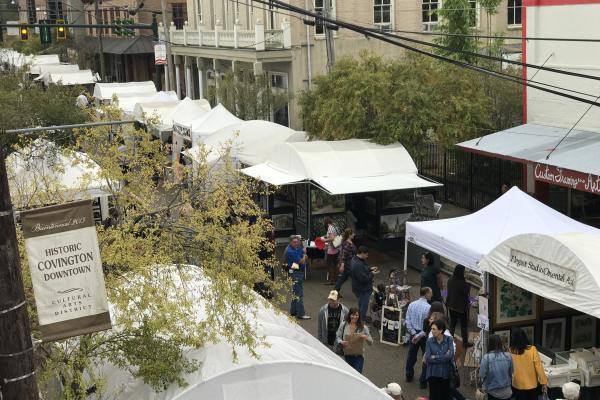 Covington Three Rivers Art Festival from above.