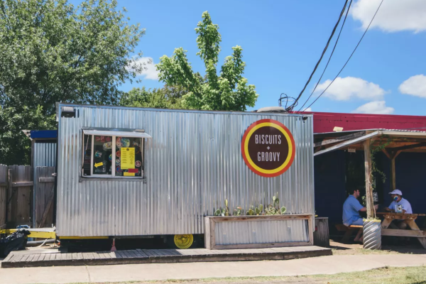 Biscuits and Groovy food trailer exterior