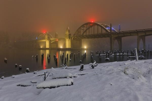 Snowfall on the Siuslaw River Bridge by Stephanie Ames