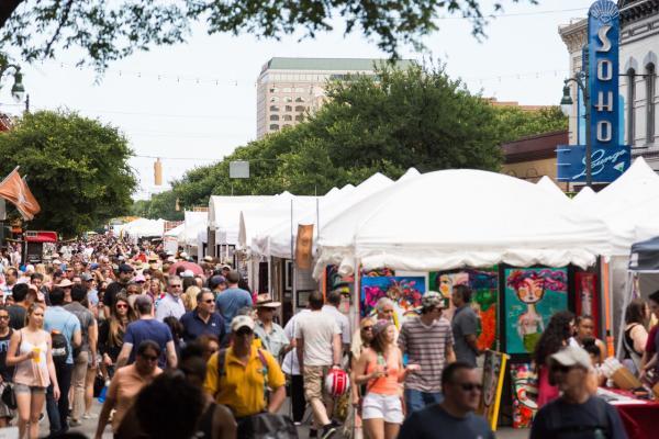 Crowd at Spring Pecan Street Festival on Sixth Street