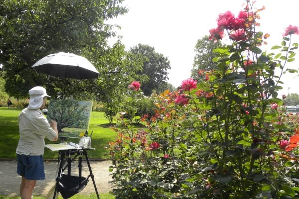 Plein Air Painting in Owen Rose Garden