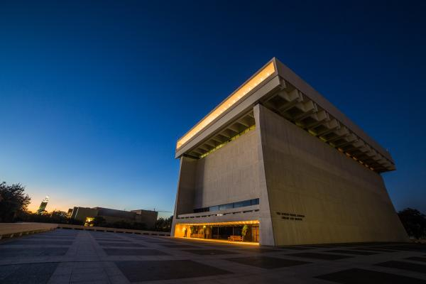 LBJ Presidential Library Exterior at Night